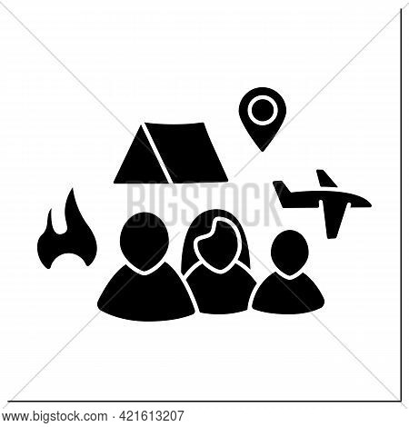 Refugees Glyph Icon. Forced Country Leaving. Family Escape From Bad Living Conditions. Living In Ten