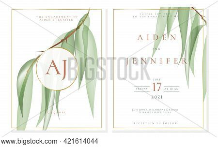 Elegant White Engagement Invitation Template With Willow In Green Pastel Color