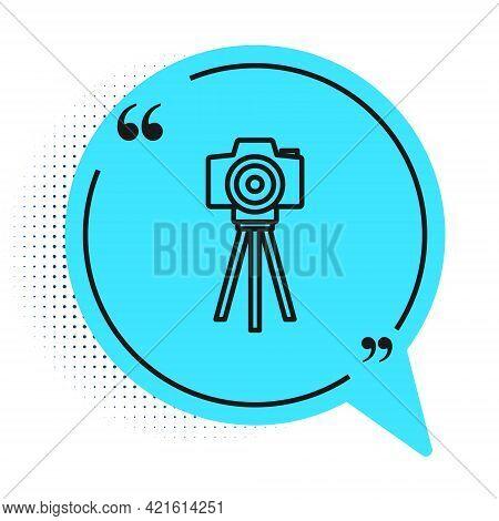 Black Line Photo Camera Icon Isolated On White Background. Foto Camera. Digital Photography. Blue Sp