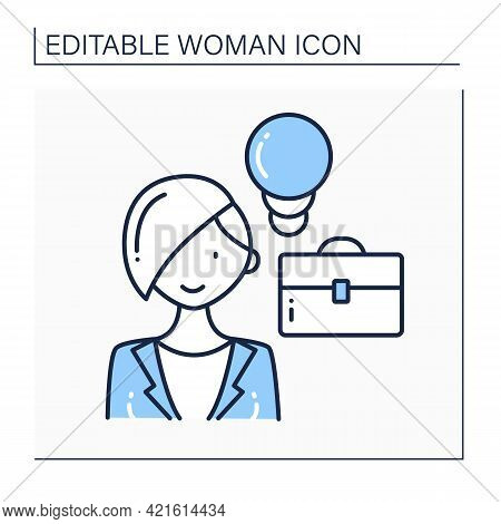 Female Entrepreneur Line Icon. Starts Own Business, Especially When This Involves Seeing A New Oppor