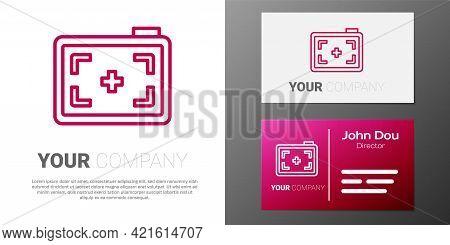 Logotype Line Photo Camera Icon Isolated On White Background. Foto Camera. Digital Photography. Logo