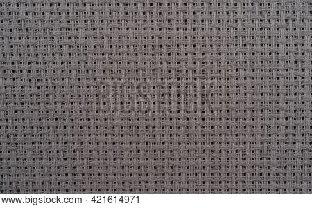 Background Texture Grey Fabric Close Up. Gray Sackcloth Texture Close Up For Backdrop. Canvas Fabric