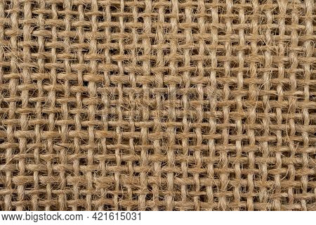 Brown Burlap Cloth Background Or Sack Cloth For Packing. Brown Fabric Background And Texture, Burlap