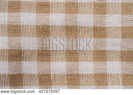 Beige And White Checkered Fabric As Background Texture. Beige Classic Checkered Texture, Background