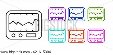 Black Line Electrical Measuring Instrument Icon Isolated On White Background. Analog Devices. Measur