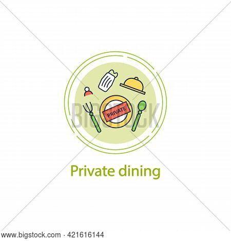Private Dining Concept Line Icon. Personal Dinner In Restaurants. Compliance Rules. Regulation Throu