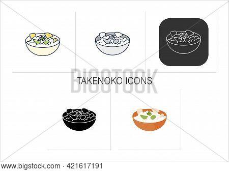 Takenoko Icons Set. Edible Bamboo Shoots On Bowl. Traditional Dish.spring Japanese Food.collection O