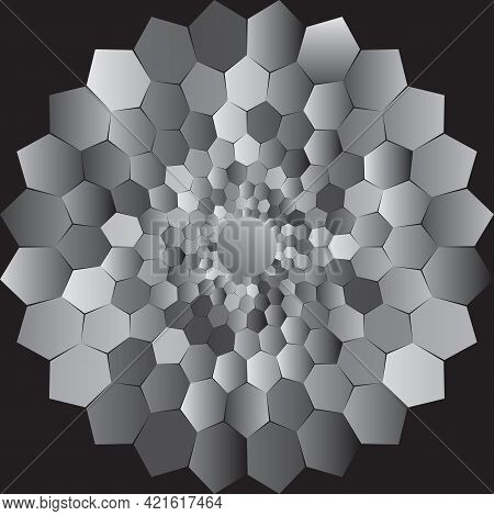 Dotted Halftone Vector Spiral Gray Pattern Or Texture. Stipple Dot Backgrounds With Hexagons