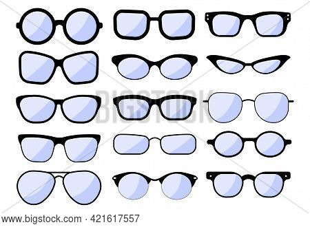 Glasses In Different Styles Vector Illustrations Set. Collection Of Old, Hipster, Cool, Black Glasse
