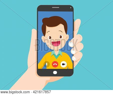 Hand Holding Smartphone With Smart Man On Screen.video Call With Young Man