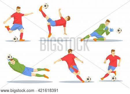Set Of Football Players In Different Poses. Cartoon Vector Illustration. Attacking Players And Goal-