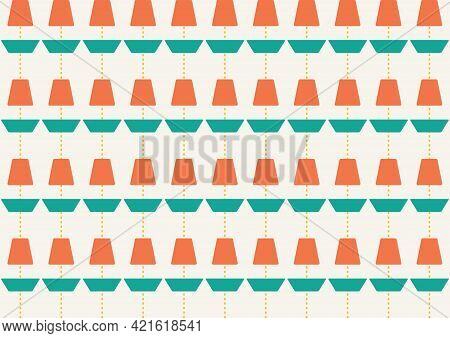 Mid Century Style Seamless Vector Pattern. Abstract Background In Retro Colors.