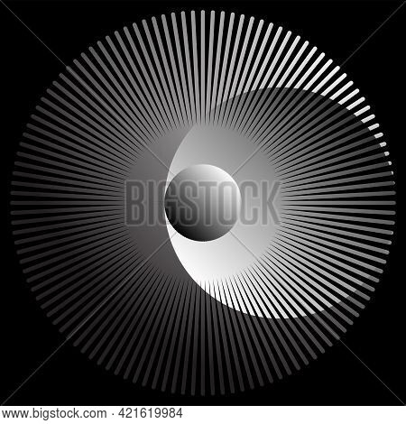 Abstract Linear Black And White Spiral Background. High Saturated. Gradients Different Geometrical S
