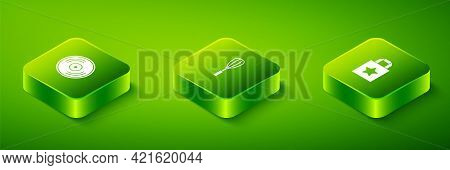 Set Isometric Kitchen Whisk, Paper Shopping Bag And Vinyl Disk Icon. Vector