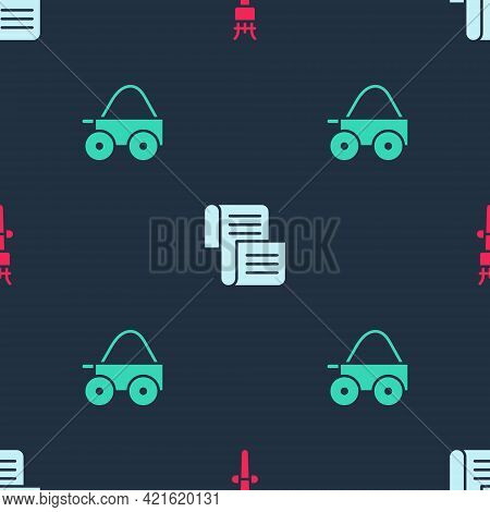 Set Torch Flame, Decree, Parchment, Scroll And Wooden Four-wheel Cart On Seamless Pattern. Vector