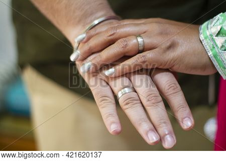 Picture Of Man And Womans Hand With Wedding Ring.young Married Couple Holding Hands, Ceremony Weddin