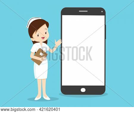 Online Medical Emergency Consultation Service, Tele Medicine. Nurse Chatting With Patient In App Mes
