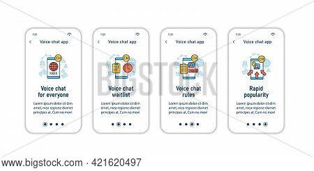 Drop In Audio App Onboarding Mobile App Screens. Application Rules Steps Menu. Free App, Waitlist, R