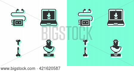 Set Ancient Bust Sculpture, Museum Audio Guide, Human Broken Bone And Online Museum Icon. Vector