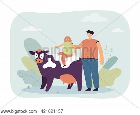 Cartoon Man And Little Girl Riding On Cow. Flat Vector Illustration. Happy Father Putting His Daught