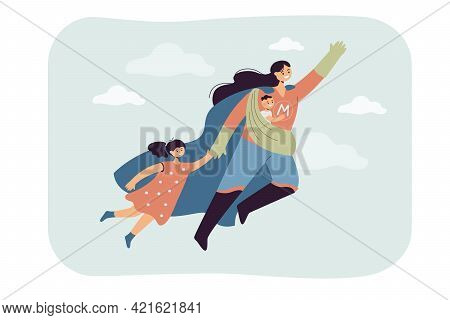 Super Mom Flying With Kids. Flat Vector Illustration. Female Young Superhero Carrying Happy Baby And