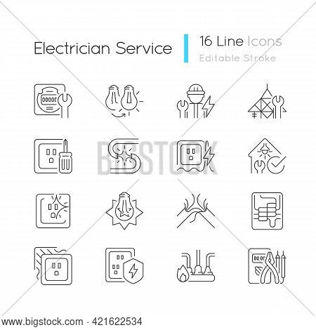 Electrician Service Linear Icons Set. Changing Lightbulb. Operating With Electric Devices, Equipment