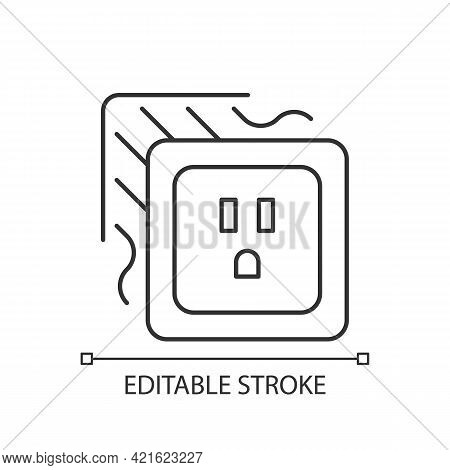 Loose Outlet Linear Icon. Electricity Flow Disruption. Fire Hazard Risk. Faulty Electrical Outlet. T