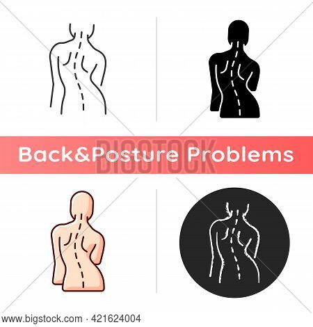 Scoliosis Icon. Sideways Curve. Uneven Hips And Shoulders. Pinched Nerves. Abnormal Spine Sideways C
