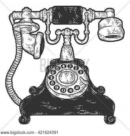 Vintage Telephone. Sketch Scratch Board Imitation Color.