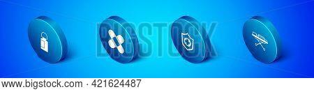 Set Isometric Eye Drop Bottle, Life Insurance In Hand, Stretcher And Crossed Bandage Plaster Icon. V