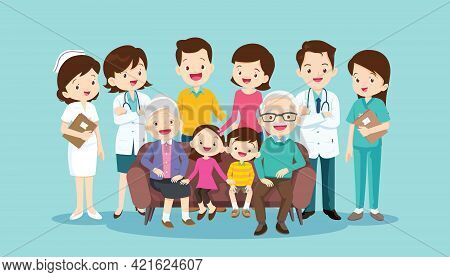 Team Doctors And Big Happy Family Sitting On The Sofa. Grandmother, Grandfather, Father, Mother, Chi
