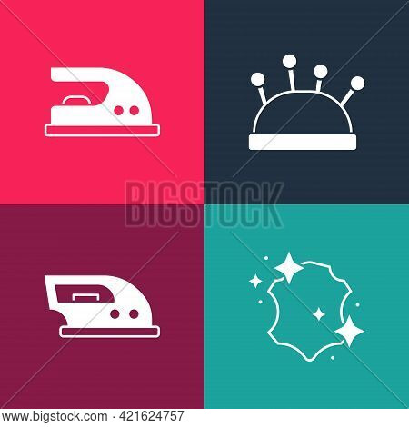 Set Pop Art Leather, Electric Iron, Needle Bed And Needles And Icon. Vector