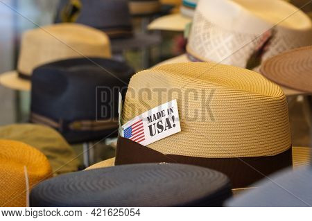 Hats In Store Window With Made In Usa Tag