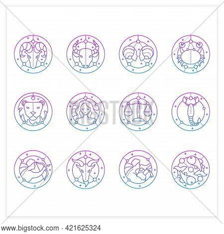 Zodiac Gradient Icons Set. Fourth Fire Signs In Zodiac. Birth Symbols. Mystic Horoscope Signs. Astro