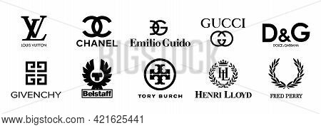 Collection Vector Logo Popular Clothing Brands: Gucci, Dolce Gabbana, Givenchy, Louis Vuitton, Fred