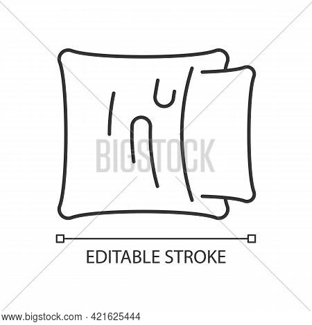Pillowcase Linear Icon. Comfortable Cushion For Bed. Soft Pillow Cases. Textile Products. Thin Line