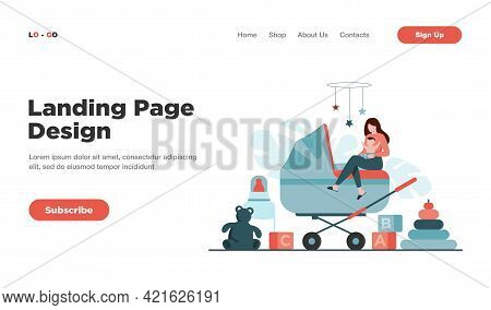 Tiny Mother Or Babysitter Holding Baby And Sitting On Carriage Isolated Flat Vector Illustration. Ca