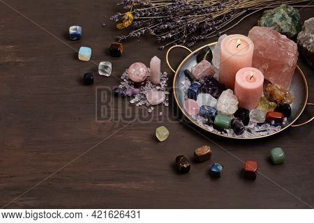 Healing Chakra Crystals Therapy. Alternative Rituals, Gemstones For Wellbeing, Meditation, Destress