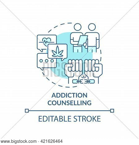 Addiction Counselling Concept Icon. Rehabilitation Types. Treatment Of Health Troubles. Patients Abs