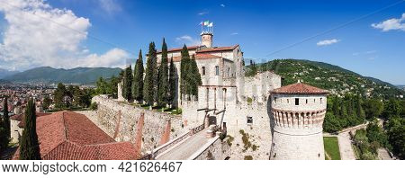 Super Panorama Of The Architectural Complex Of The Medieval Castle In Brescia City. Lombardy, Italy