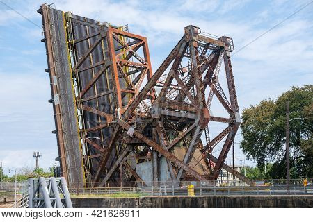New Orleans, Louisiana - August 3: St. Claude Avenue Drawbridge Is Raised Over The Industrial Canal