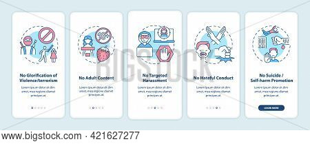 Social Media Safety Rules Onboarding Mobile App Page Screen With Concepts. No Target Harassment Walk