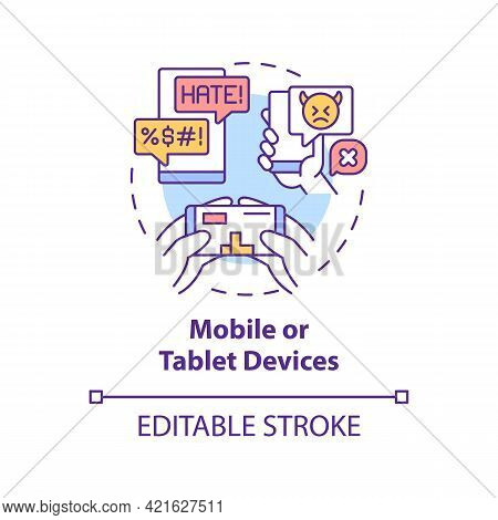 Mobile And Tablet Devices Concept Icon. Cyberbullying Channel Idea Thin Line Illustration. Harassing