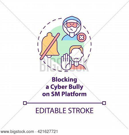 Blocking Cyber Bully On Sm Platform Concept Icon. Reporting Cyberbullying Idea Thin Line Illustratio