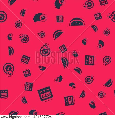Set Slot Machine With Jackpot, Casino Slot Clover, Chips And Watermelon On Seamless Pattern. Vector