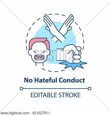 No Hateful Conduct Concept Icon. Social Media Safety Idea Thin Line Illustration. Promoting Oppositi