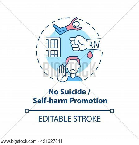 No Suicide And Self-harm Promotion Concept Icon. Social Media Safety Idea Thin Line Illustration. Re