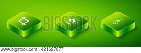 Set Isometric Photo Camera, Dust Blower And Picture Crop Photo Icon. Vector