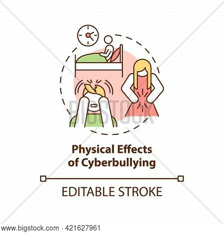 Physical Cyberbullying Effects Concept Icon. Negative Consequences Idea Thin Line Illustration. Trou