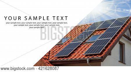 Banner - Solar Panels With Sunlight. Renewable Energy Concept